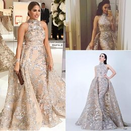Wholesale Elastic Satin Dresses - Sequined Appliques Mermaid Overskirt Evening Dresses 2018 Yousef Aljasmi Dubai Arabic High Neck Plus Size Occasion Prom Party Dress