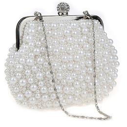 Sacs à main d'embrayage de marque blanche en Ligne-TenTop-A Brand Clutch Bolsas Purse Sac à main Mini sac à main perles d'imitation perles Perles sac de soirée Pochette de soirée Beige Blanc Noir