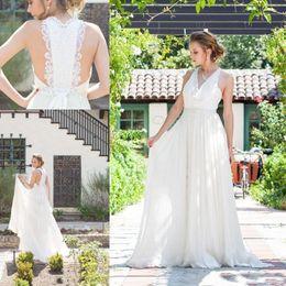 Wholesale Dresses Chifon - 2017 Beach Chifon A Line Wedding Dresses V Neck Beads Sash Floor Length Applique Lace Ruffle Bridal Gown