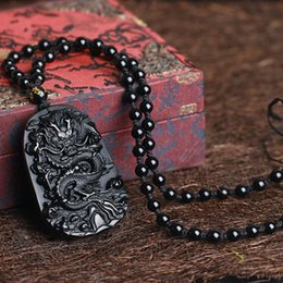 Wholesale chinese dragon pendant wholesale - Wholesale Gifts carving Chinese black A Natural Obsidian Carved Dragon Black Obsidian Necklace Pendant Men Jewelry Drop Shipping