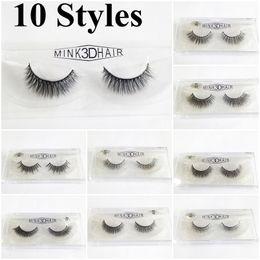 Wholesale Long Black Hair Extensions - 10 Styles 3D Mink False Eyelashes Makeup Handmade False Lashes Eye Extension Thick Long False Eyelashes Mink Hair Natural for Beauty Makeup