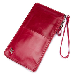 Wholesale Rose Zip - HAUT TON Women Wallet Genuine Leather Zip Clutch Checkbook Purse with Wrist Strap Rose