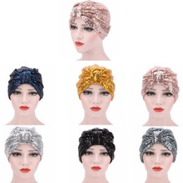 Wholesale muslim hijab headscarf - Sequin Turban Caps Glitter Muslim Pop Hats Indian Hat Hijab Fashion Street Headwear Shiny Beanie Headscarf Headwrap Headband GGA372 50PCS