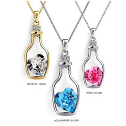 Wholesale Jewelry Bottle Pendants - High quality White Copper Austrian Crystal Lover Drifting Lucky Bottle Pendant Necklace Class Women Girls Lady Swarovski Elements Jewelry