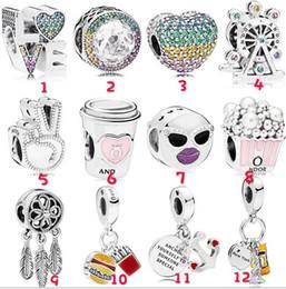 Moda 20 Pz Ancoraggio Statua della Libertà Ruota Ferris Love Cup Charm Sterling Silver Charms europeo Bead Fit Pandora bracciali gioielli fai da te da