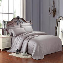 Wholesale King Grey Bedding Sets - Egyptian cotton Luxury duvet cover flat sheet pillowcase set 4pcs queen king bedding sets silver grey