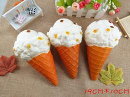 DHL Free Jumbo Squishy Grande cono gelato 19cm lento aumento alleviare lo stress torta dolce animale PU telefono cellulare cinghia del telefono portachiavi ciondolo da