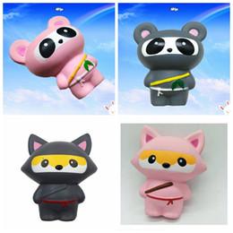 Wholesale panda bears toys - Jumbo Kawaii Ninja Squishy Panda Bear Fox Bread Soft Slow Rising Fun Kid Toys Sweet Charm Cartoon Cake DDA180