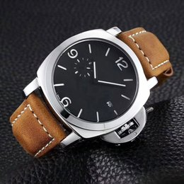 Wholesale Valentine Christmas - Top luxury brand Designer mens watch leather strap 44mm dial fashion male quartz watches for man Valentine Gift Waterproof wristwatch 2018