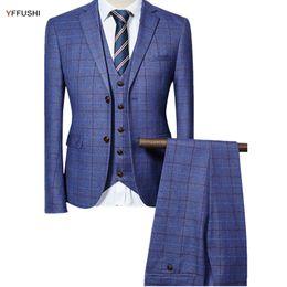 Estilos de esmoquin gris online-YFFUSHI 2017 Hombres Traje Hombres Gris Negro Azul Marino Diseño A Cuadros Clásico Tuxedo Trajes de Boda para Inglaterra Estilo Slim Fit