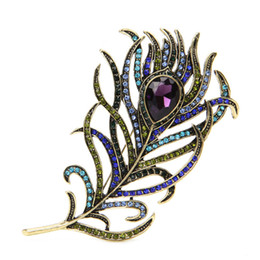 Wholesale Peacock Feather Pins - Vintage Peacock Feather Gold Multi-color Rhinestone Brooch Pins Jewelry x4
