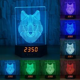 Lámparas de lobos online-Recién llegado Animal Wolf 3D Calendario Acrílico Lámpara de mesa USB Carga táctil con calendario hermosas luces nocturnas 3D para niños