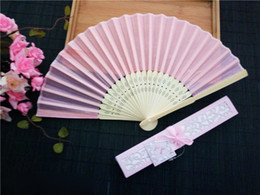 Wholesale Dynasty Arts - Chinese Imitating Silk Hand Fans Folding fan Chinese style Summer handy fans Wedding Fan For Bride Weddings Guest Gifts Free shipping 50pcs