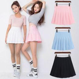 Wholesale Girl School Skirt Xl - Japanese Uniform JK Sailor Pleated Mini Skirt High Waist solid tennis Dress for High School College Girls Cheerleader Cosplay Vestidos S-3XL