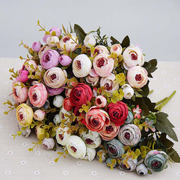 Wholesale Cheap Vases Flowers - Artificial Flowers cheap Silk flower European Fall Small Tea Bud Fake Leaf Wedding Home Party Vases for Decoration 10pcs