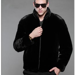 Wholesale Mink Overcoat - Wholesale- 2017 Fashion Mens Faux Fur Coats Stand Collar Black Leather Jacket Men Faux Mink Overcoat Winter Outwear