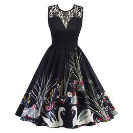 Canada femmes d'été en dentelle sexy sans manches imprimer travail patch vintage dentelle courte robe de soirée manches élégant solide robe longue Offre