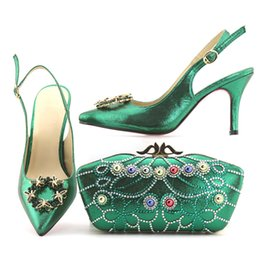 Wholesale Italian Slingbacks - Dazzling Comfortabe And Calssical Quality Italian Shoes With Matching Bags African Women Shoes and Bags Set for party AB5-3