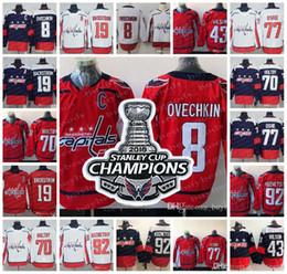 Wholesale full purple - 2018 Stanley Cup Champions Jerseys 8 Alex Ovechkin 43 Tom Wilson 77 T.J. Oshie 92 Kuznetsov 19 Nicklas Backstrom 70 Holtby Hockey Jersey