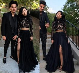 Wholesale Long Sheer Dresses For Cheap - 2018 Sexy Black Two Pieces Prom Dresses Sheer Long Sleeves High Lace Tulle High Side Split Evening Gowns Cheap Wear For Black Girls