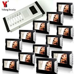 """Kits de campainha com fio on-line-YobangSecurity 12 Unidades Apartamento Interfone Wired 7 """"Vídeo Porteiro Sistema de Entrada de Porta de Vídeo Intercom Doorbell Kit de Segurança Em Casa"""