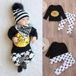 Wholesale Top Selling Kids Clothes - hot selling boys suits 2PCS Kids Toddler Boy long sleeve blcak tshirt+pants children Clothes Set T-shirt Tops trousers Leggings top Outfits
