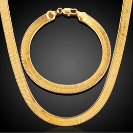 Wholesale Wide Gold Plated Mens Bracelet - 7mm Wide 18k Real Gold Plated Basic Gold Chains Mens Necklaces Cuban Link Hip Hop Jewelry For Men