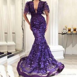 2018 Glamorous Prom Dresses 3D-Petals Applique Scollo a V manica corta  Sirena Vestidos de fiesta Abiti da sera Arabia Saudita 42f0ce59195
