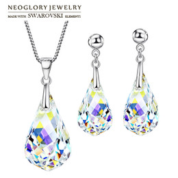 Wholesale Drop Earrings Make Swarovski - Neoglory MADE WITH SWAROVSKI S Crystal Jewelry Set Water Drop Style S925 Silver Plated For Women Gift Necklace & Earrings