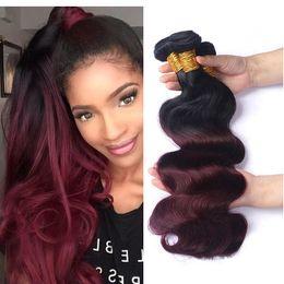 2019 pelo de la onda del cuerpo de 14 pulgadas Ombre 1B / 99J Body Wave Colored Hair 3 Bundles Brasileño Ombre Vino rojo Rojo Armadura del cabello humano Paquetes Extensión del cabello 12-26 pulgadas rebajas pelo de la onda del cuerpo de 14 pulgadas