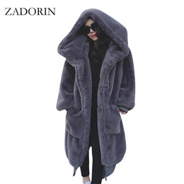 Wholesale Jacket Rabbit Fur Hoods - ZADORIN High Qaulity Long Faux Rabbit Fur Coat With Hood Women Fashion Long Sleeve Thick Warm Winter Fur Jacket Manteau Fourrure