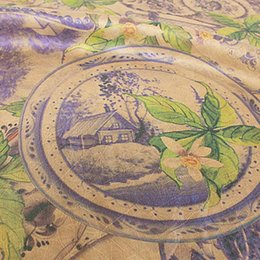 Wholesale Green Fabric Background - 100% silkworm silk soft and satin cheongsamLight brown background with purple flower green branches and leaves