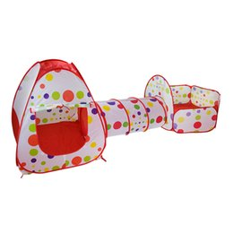 Wholesale red tunnel - Child Tents Three Piece Set Basketball Pool Crawl Tunnel Toy Tent Game House Baby Toys At The Age Of 3 60xh W