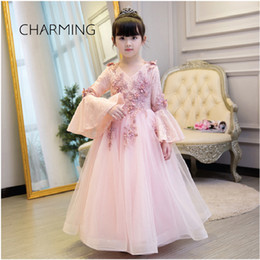 Wholesale Pink Hand Cuffs - baby girl maxi dress Pink high-quality lace fabric horn cuff design princess dress Child birthday party dress
