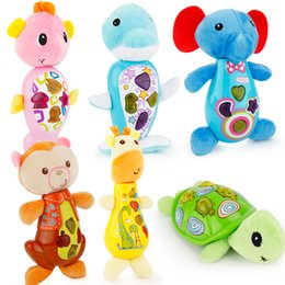 Wholesale Baby Turtle Plush Toy - Wholesale- Baby Toys Plush Baby Musical Toys Appease Infants Seahorse Turtle Elephant Lion Stuffed Animal Dolls For baby Christmas Gift