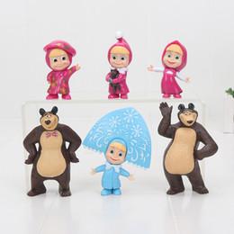 Wholesale Masha Bear Toys - 7-10cm 6pcs set Masha and the Bear Painter Snow Maiden Masha with teddy PVC Action Figure Toy Masha Dolls