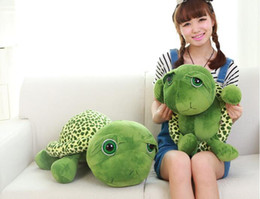 Wholesale Stuffed Green Turtle - Plush turtle pillow Wholesale New 35cm Super Green Big Eyes Stuffed Tortoise Turtle Animal Plush Baby Toy Gift