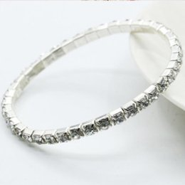Wholesale diamond hand bracelets - Hand jewelry wholesale Diamond single row elastic bracelet Shiny intellectual star combination bracelet gold chain necklace jewelry silicone