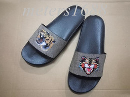 Wholesale Thick Soled Flip Flops - new arrival 2018 mens fashion Wild Cat print trek slide sandals flip flops with thick rubber sole boys causal beach slippers