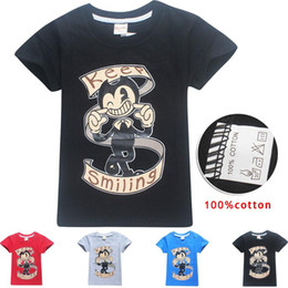 Wholesale Ink Print Machine - Print Bendy and The Ink Machine Fashion T-shirt O-Neck Short sleeves Summer Casual Personalized T Shirt for kids 4-12 years