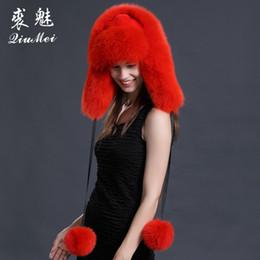 Piel de zorro real de la mujer rusa Ushanka Trapper sombrero femenino  caliente Leifeng Caps Earflap invierno piel de zorro ruso bomber sombrero  para las ... dcb695fe3cf