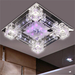 Wholesale Square Crystal Ceiling Lamp Led - Modern square 42cm crystal glass LED ceiling light suspended lamp 110V 220V luminare for bedroom living room decoraion