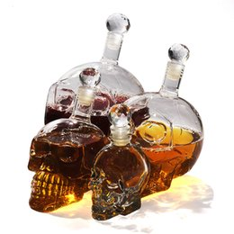 whisky glass cup Coupons - 350  550  1000ml Creative Skull Head Whiskey Vodka Wine Decanter Bottle Whisky Glass Beer Spirits Cup Water Glass Bar Tool