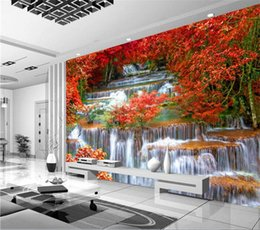 Wholesale japan wall painting - Custom 3D Photo Wallpaper Natural Forest Trees Waterfall Living Room TV Background Large Wall Mural Wallpaper Modern Painting