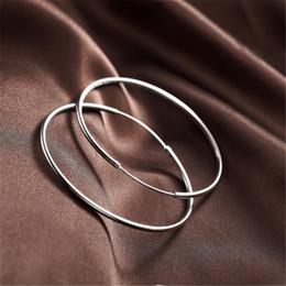 Smte042 Einfache Mode Stil Silber überzogene Glatte Kreis Ohrringe Schmuck Herren Großhandel & Neue Mode