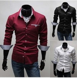 Wholesale Types Collars Dresses - Free shipping 2018 New Fashion Casual Men's Shirts Turn Down Long-Sleeve Handsome Type Packet Shirt in stock wholesale