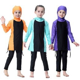 Wholesale modest islamic swimwear - 2018 New arrive modest swimwear for muslim girl kids long sleeve Islamic swimsuit hooded patchwork beach wear bathing suit free DHL