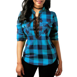 1344478448ca Women Plaid Shirts 2018 Spring Long Sleeve Blouses Shirt Office Lady Cotton  Lace up Shirt Tunic Casual Tops Plus Size Blusas spring xl tunic tops for  sale