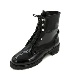 Wholesale motorcycle boots for short women - Fashion Patent Leather Cross Tied Ankle Boots Thick Heel Motorcycle Boots Short Booties For Women