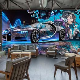 Wholesale Sports Wall Mural Wallpaper - Modern Creative Street Graffiti Sports Car Photo Wallpaper Restaurant Clubs KTV Bar 3D Wall Mural Wall Paper Papier Peint Enfant